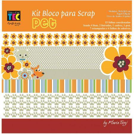 Kit para Scrapbook By Flavia Terzi - Pet com 15 Folhas + 6 Folhas de Adesivos