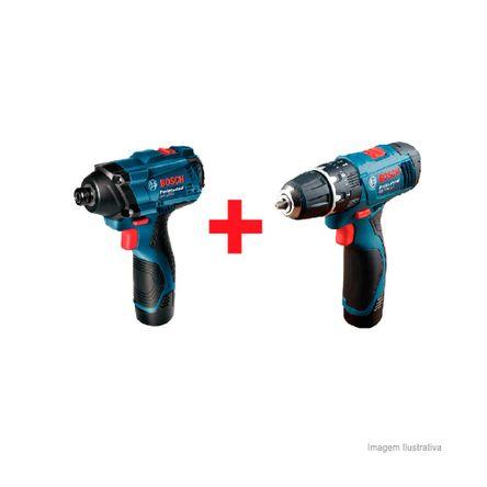 Kit Parafusadeira a Bateria GDR12-2 Li Furadeira de Impacto GSB12-2 Li Azul Bosch