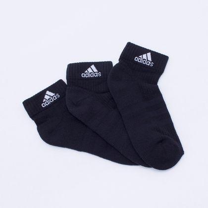 Kit 3 Pares Meias Adidas Ankle Mid Cushion 3S Preta Único