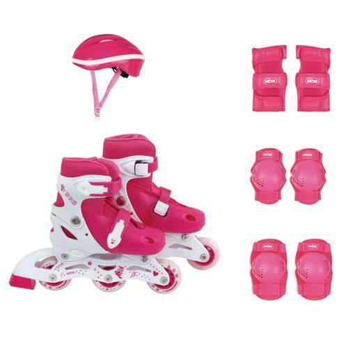 Kit Patins Roller Infantil Rosa 34-37 Mor 40600103