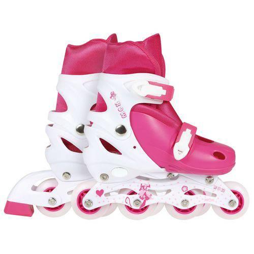 Kit Patins Roller Infantil Rosa (Patins, Cotoveleira, Joelheira, Capacete) 34-37 Mor 40600103
