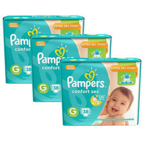 Kit 3 Pcts Pampers Confortsec - Tam. G - 114 Unds