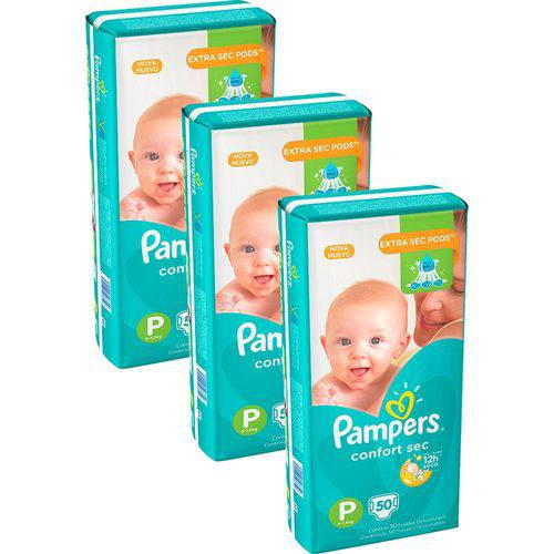 Kit 3 Pcts Pampers Confortsec - Tam. P - 150 Unds