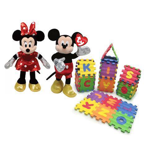 Kit Pelúcia Minnie Moouse e Mickey Mouse Ty Dtc + Castelinho Eva