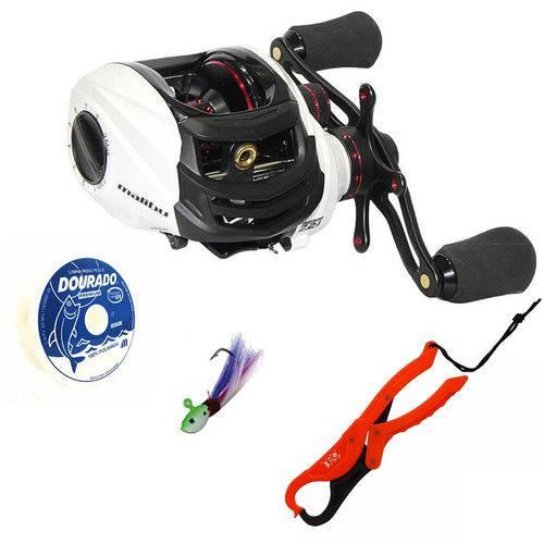 Kit Pesca Carretilha Malibu 10000 com ALicate Contenção 1 Isca Jig Ranger 1 Linha Dourado