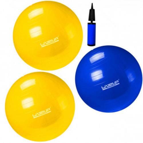 Kit Pilates com 1 Bola 65 Cm + 02 Bolas 75 Cm com Mini Bomba Liveup