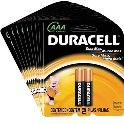 Kit Pilhas AAA Palito com 20 Unidades Duracell
