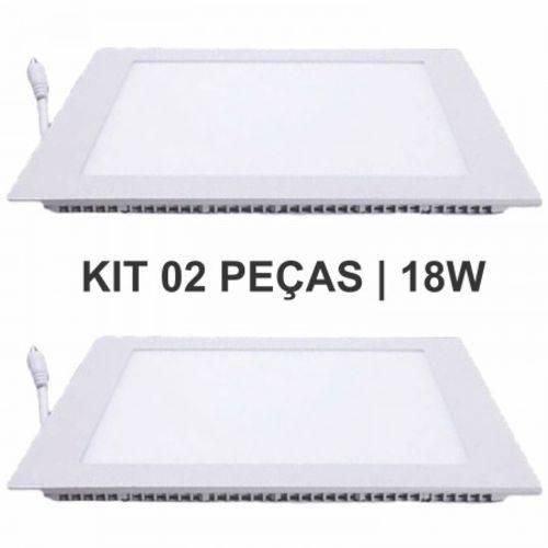 Kit 2 Plafon 18W Luminária LED Painel Embutir QUADRADO Branco Frio SLIM
