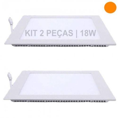 Kit 2 Plafon 18W Luminárias LED Painel Embutir QUADRADO Branco Quente SLIM