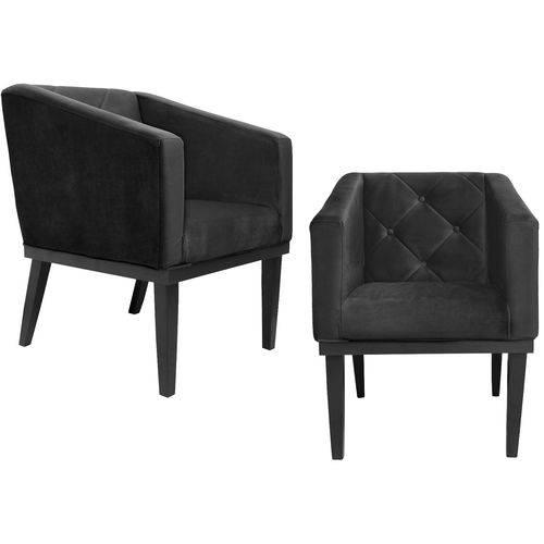Kit 2 Poltronas Cadeira Decorativa Rafa - Corino
