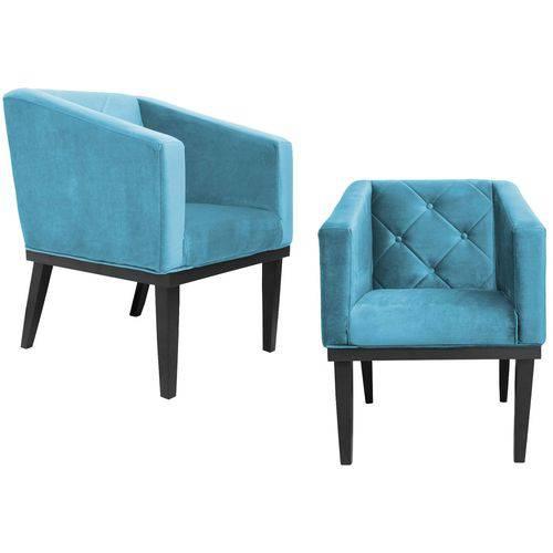 Kit 2 Poltrona Cadeira Decorativa Rafa Escritório Sala de Estar Quarto Recepção Corino