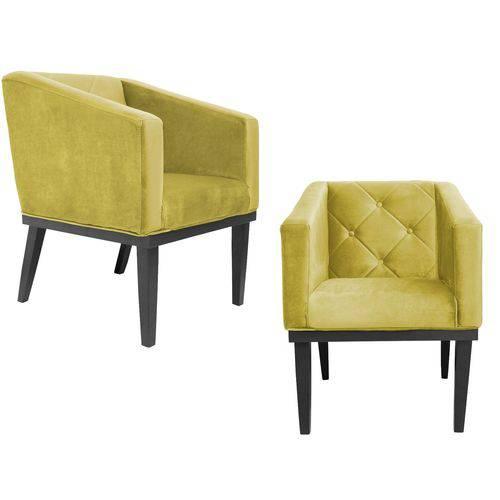 Kit 2 Poltrona Cadeira Decorativa Rafa Escritório Sala de Estar Quarto Recepção Suede
