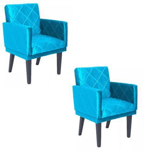 Kit 2 Poltrona Cadeira Leticia Decorativa para Recepção Sala de Estar Quarto Consultório Escritório