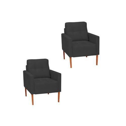 Kit 2 Poltrona Cadeira Luiza Recepção Escritório Sala de Estar Quarto Consultório