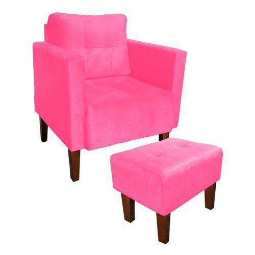 Kit Poltrona e Puff Decorativo Lívia para Sala e Recepção Suede Rosa Barbie - D'Rossi