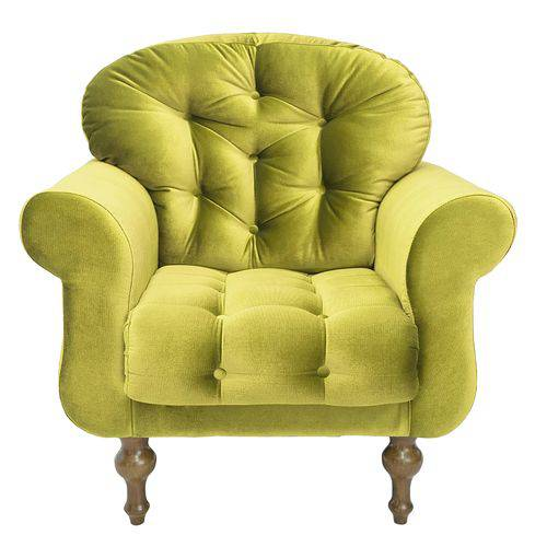 Poltrona Cadeira Dani para Recepção Sala Escritório Quarto Suede Amarelo - AM DECOR