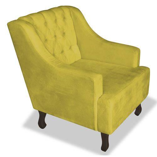Poltrona Cadeira Dante Luiz Xv para Sala Escritório Recepção Corino Amarelo - AM DECOR
