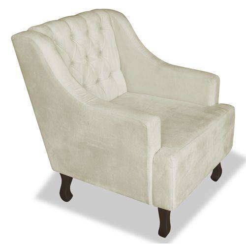Kit 2 Poltronas Cadeiras Dante Luiz Xv para Sala Escritório Recepção Suede Bege - AM DECOR
