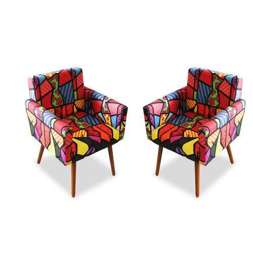 Kit 2 Poltronas Cadeiras Decorativa Beatriz Sala de Estar Escritório Estampa Romero Brito - AM DECOR