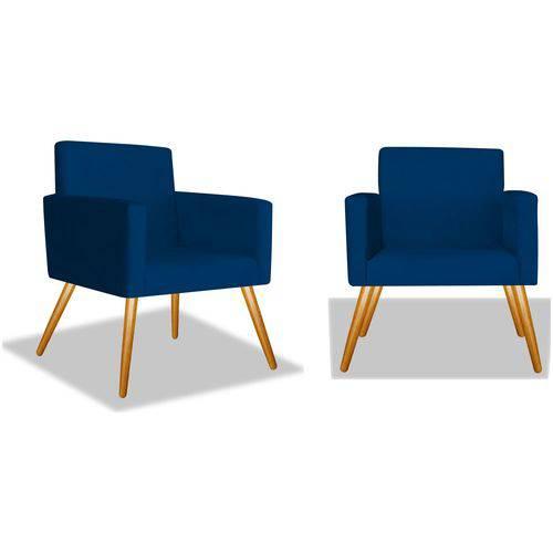 Kit 2 Poltronas Cadeiras Decorativas Nina Recepção Sala Escritório Corino Azul Marinho – BC DECOR