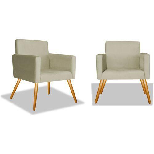 Kit 2 Poltronas Cadeiras Decorativas Nina Recepção Sala Escritório Corino Bege – BC DECOR