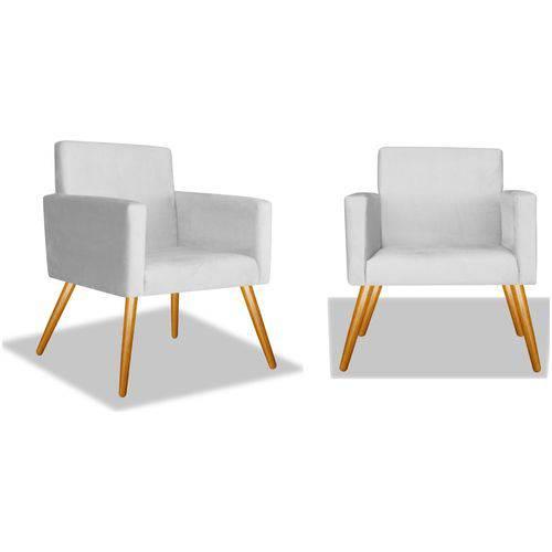 Kit 2 Poltronas Cadeiras Decorativas Nina Recepção Sala Escritório Suede Branco – BC DECOR