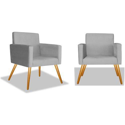 Kit 2 Poltronas Cadeiras Decorativa Beatriz Sala Quarto Escritório Recepção Corino Cinza - AM DECOR
