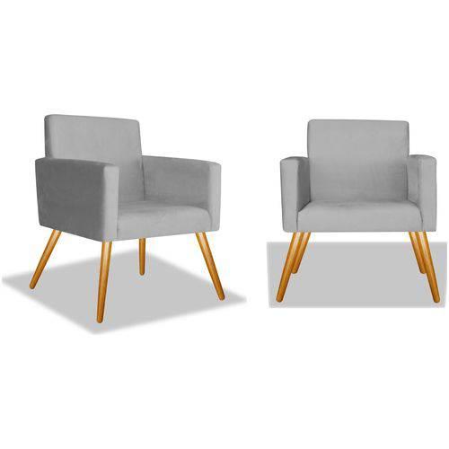Kit 2 Poltronas Cadeiras Decorativas Nina Recepção Sala Escritório Suede Cinza – BC DECOR