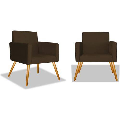 Kit 2 Poltronas Cadeiras Decorativa Beatriz Sala Quarto Escritório Recepção Corino Marrom - AM DECOR