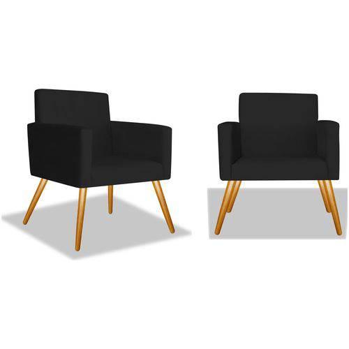 Kit 2 Poltronas Cadeiras Decorativas Nina Recepção Sala Escritório Suede Preto – BC DECOR