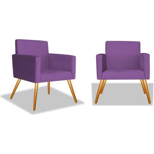 Kit 2 Poltronas Cadeiras Decorativa Beatriz Sala Quarto Escritório Recepção Suede Roxo - AM DECOR