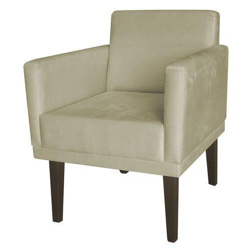 Poltrona Cadeira Mia para Recepção Sala Escritório Quarto Corino Bege - AM DECOR