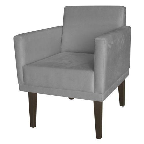 Poltrona Cadeira Decorativa Mia Recepção Sala de Estar Escritório Corino Cinza – BC DECOR