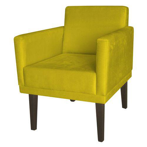 Poltrona Cadeira Mia para Recepção Sala Escritório Quarto Corino Amarelo - AM DECOR