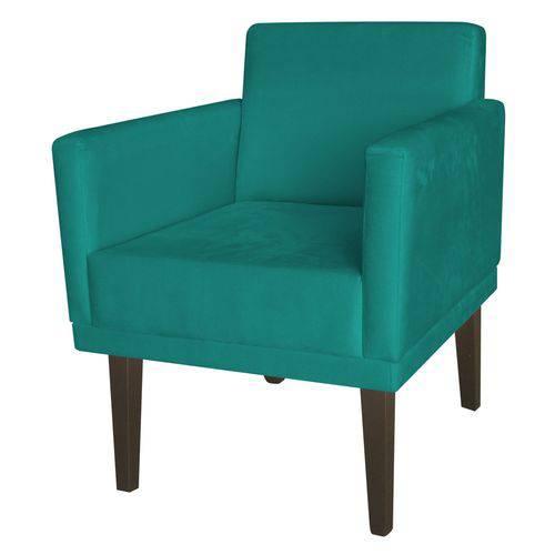 Poltrona Cadeira Mia para Recepção Sala Escritório Quarto Suede Azul Turquesa - AM DECOR