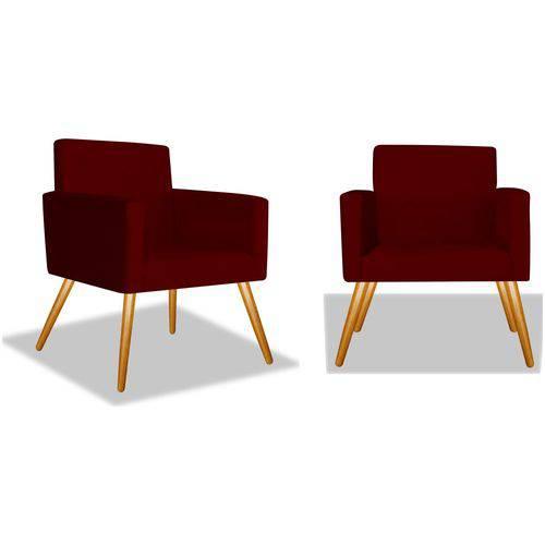 Kit 2 Poltronas Cadeiras Decorativas Nina Recepção Sala Escritório Suede Bordô – BC DECOR
