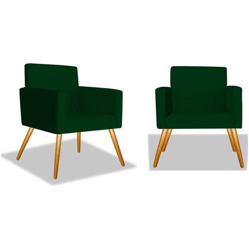 Kit 2 Poltronas Cadeiras Decorativas Nina Recepção Sala Escritório Suede Verde – BC DECOR
