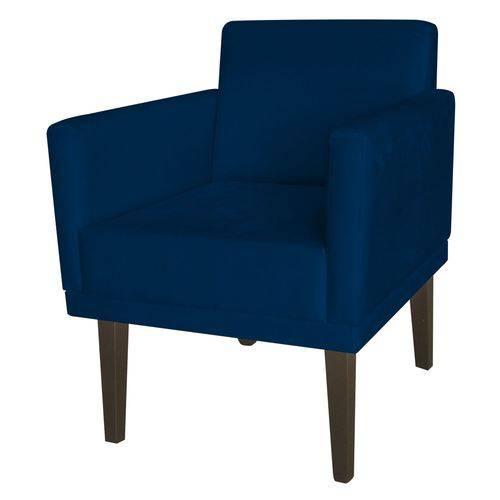 Poltrona Cadeira Mia para Recepção Sala Escritório Quarto Corino Azul Marinho - AM DECOR