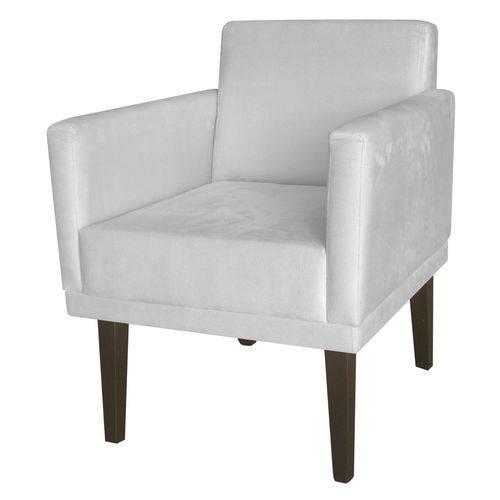 Poltrona Cadeira Mia para Recepção Sala Escritório Quarto Suede Branco Neve - AM DECOR