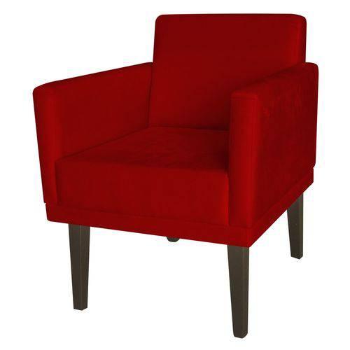 Poltrona Cadeira Mia para Recepção Sala Escritório Quarto Suede Vermelho - AM DECOR