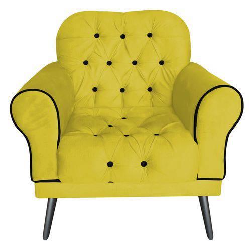 Poltrona Cadeira Olivia para Sala Escritório Recepção Corino Amarelo - AM DECOR