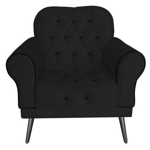 Poltrona Cadeira Olivia para Sala Escritório Recepção Corino Preto - AM DECOR