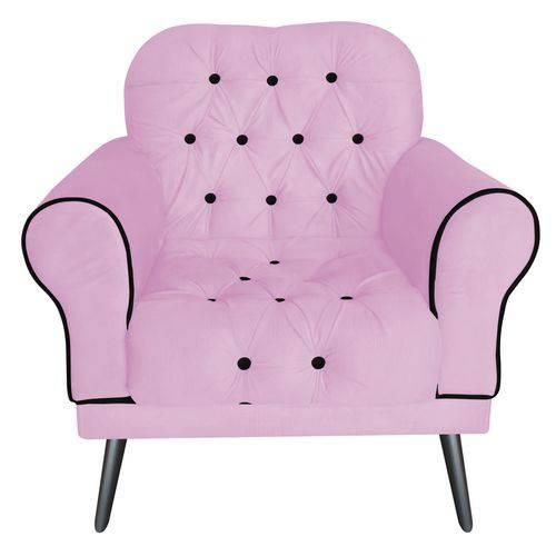 Poltrona Cadeira Olivia para Sala Escritório Recepção Corino Rosa Bebê - AM DECOR