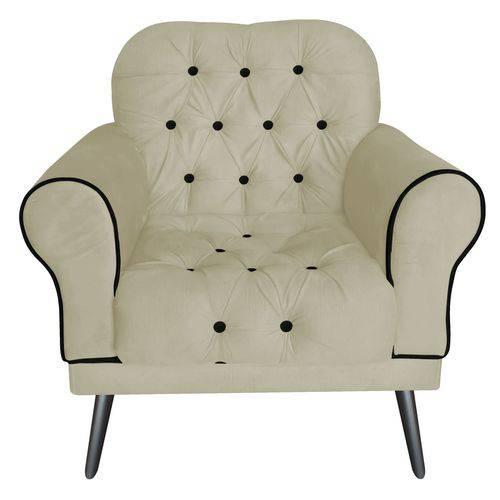 Poltrona Cadeira Olivia para Sala Escritório Recepção Corino Bege - AM DECOR