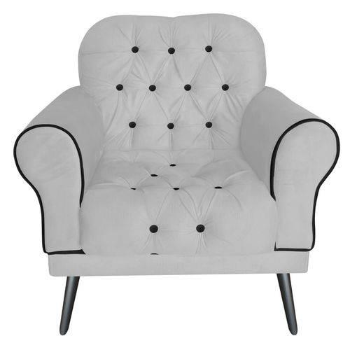 Poltrona Cadeira Olivia para Sala Escritório Recepção Corino Branco - AM DECOR