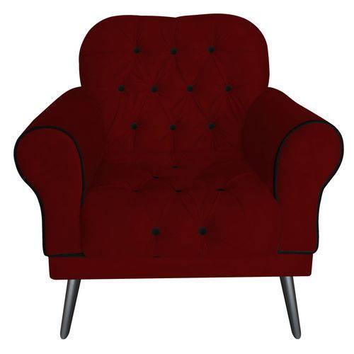 Poltrona Cadeira Olivia para Sala Escritório Recepção Suede Vermelho Bordô Marsala - AM DECOR