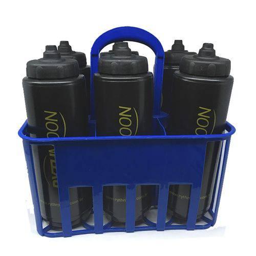 Kit Porta Squeeze Azul com 6 Squeeze C/ Logo Preto/Preto Rythmoon