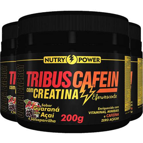 Kit 3 Pré Treino Tribus Cafein Apisnutri Nutry Power 200g