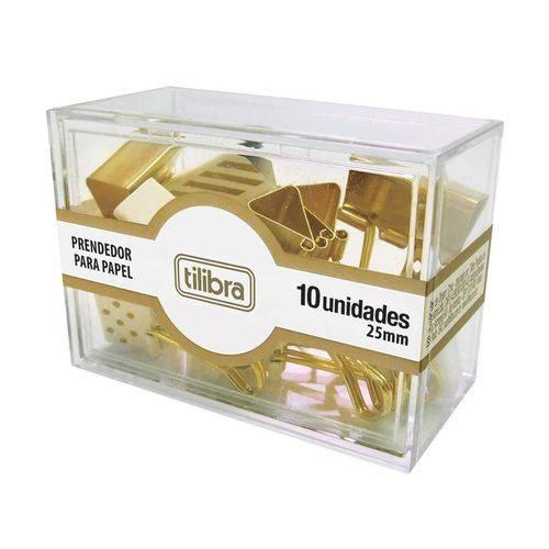 Kit Prendedor de Papel Dourado com 10 Unidades