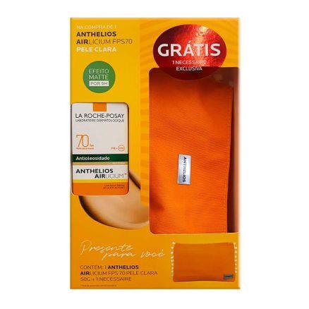 Kit Protetor Solar Anthelios AIRlicium FPS 70 Gel Creme com Cor Pele Clara 50g + Grátis 1 Necessaire